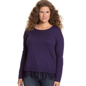 Lane Bryant Purple Lace Hem Pullover Sweater